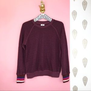 NEW SUNDRY striped cuff maroon sweatshirt